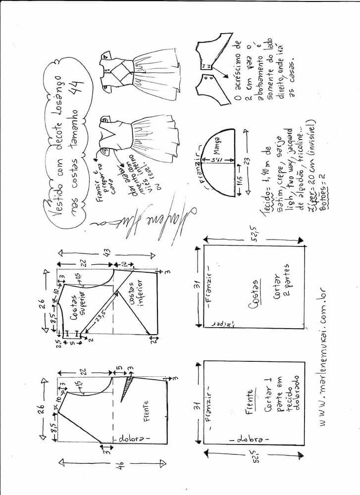 Patrón de vestido con escote pico y abertura en la espalda Patrón para hacer un vestido con escote pico y abertura en forma de diamante en la espalda. Este patrón esta disponible desde la talla 36 hasta la 56. Tallas para elPatrón de vestido con escote en la espalda: Fuente:http://www.marlenemukai.com.br/ Patrón de vestido …