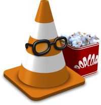 Orange VLC media player Traffic Cone with popcorn and glasses. Logo.  A little thank you for a small donation for some open source software..thank your, works a treat.