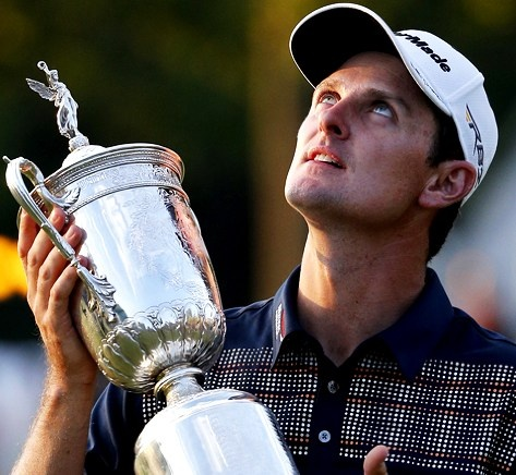British golfer, Justin Rose, with the US Open trophy which he won on 16th June, 2013 and which he dedicated to his late father for the day was Father's Day.  First British golfer since Tony Jacklin back in 1996 to win US Open....well done Justin !! :)