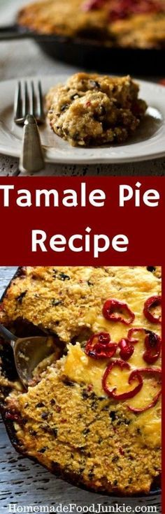 Tamale Pie Recipe. A warming low carb, low sugar, gluten free cornmeal pie. Filled with a hearty beefy filling and topped with a cornmeal crust your family will love! By HomemadeFoodJunkie.com