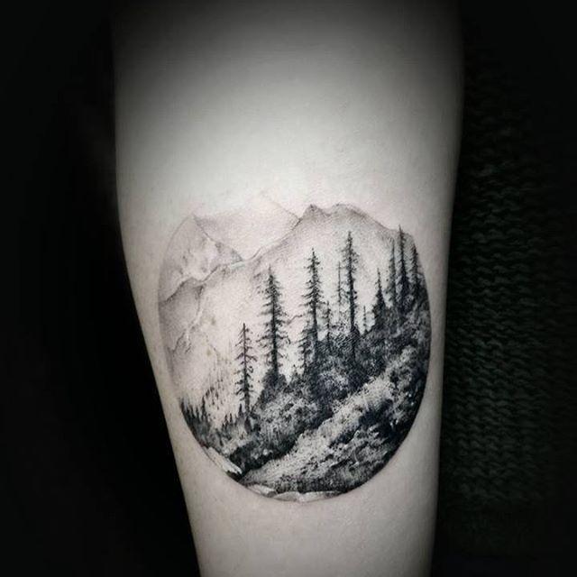 Landscape tattoo done by David. #workproud #wearproud