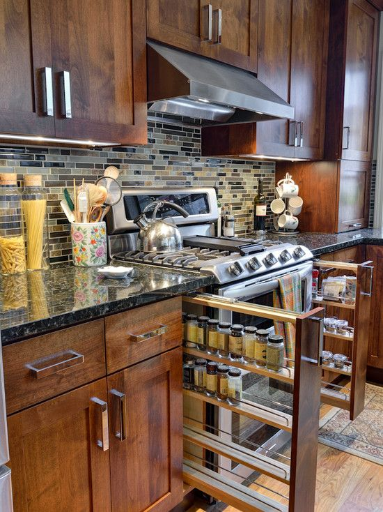 Interior Design, Magnificent Conventional Kitchen With Butterfly Green Granite Kitchen Table Countertop Also Natural Wooden Kitchen Cabinet Color Also Unique Drawers For Kitchen Spices Also Stainless Exhaust Hood: The Modern Look of the Butterfly Green Granite