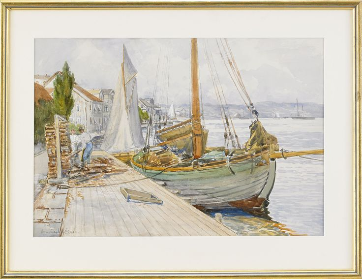 ANNA GARDELL-ERICSON  1853-1939  Port of Marstrand off West Becks known guesthouse  Signed Anna Gardell-Ericson. Watercolour with cover white on paper, 33.5 x 49 cm.