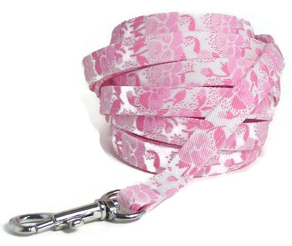 XS Leash  Pretty Pinks  3/8 wide 4 or 6 feet Extra by PawsnTails