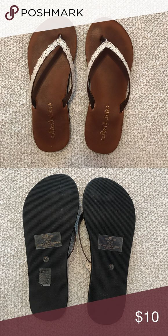 Altard State brown flip flops with lace size 7 1/2 Altard State brown with lace sandals Altard State Shoes Sandals