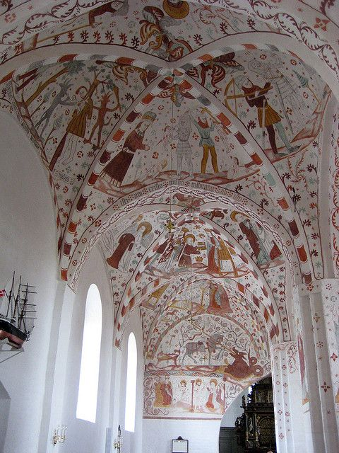Fanefjord church frescoes, dating back to the 13th and 16th centuries. Island of Møn, Denmark