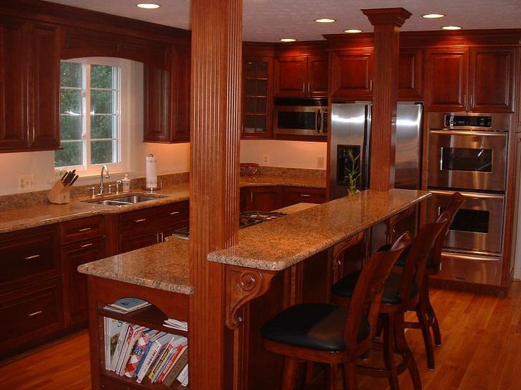 I Like The Kitchen Cooking Books In The End Easy To Access And Out Of The Way Island With Cook Top And Breakfast Bar