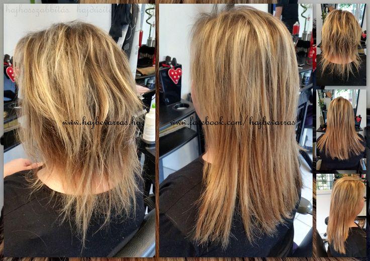 Hajhosszabbítás 40 cm-es európai hajból, 3 soros mikrogyűrűs felvarrással, melírozással.  www.hajbevarras.hu www.fb.com/hajbevarras #hajhosszabbítás #hajdúsítás