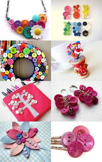 To many buttons in your storage? Impossible. There are so many things you can do with!  Look at this great etsians, what they have done. Is'nt this wreath great? Or the mirror? Oh, I love all of this items :-)      --Pinned with TreasuryPin.com