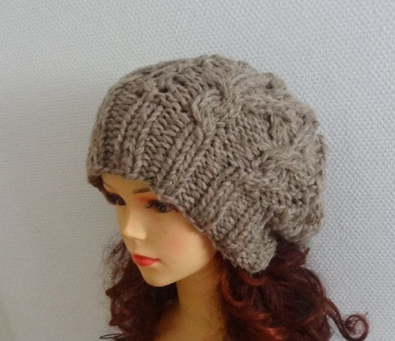 Knit Cable Hat Beanie Slouchy Hat 1 Beanie Large hat for by Ifonka