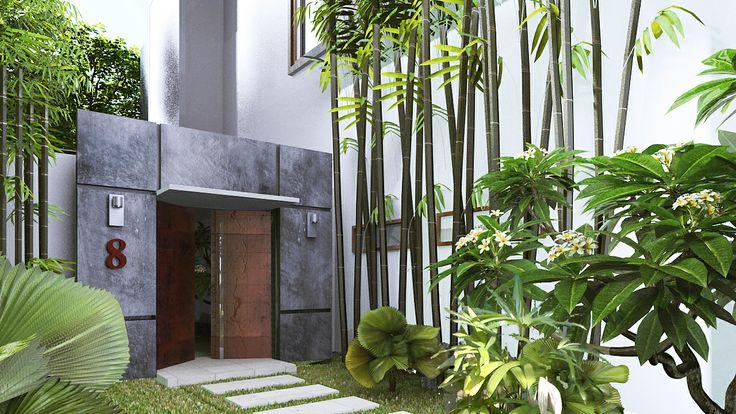 Villa white option entree beton