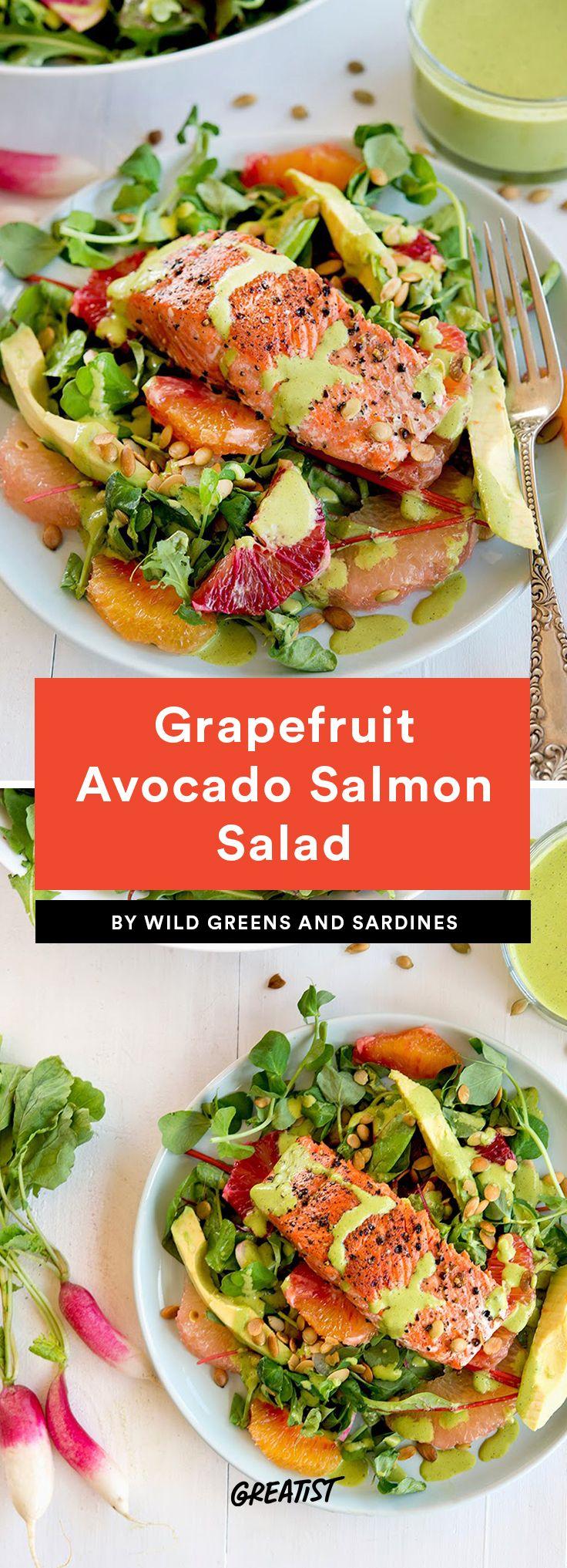 1. Grapefruit Avocado Salmon Salad #greatist https://greatist.com/eat/grapefruit-recipes