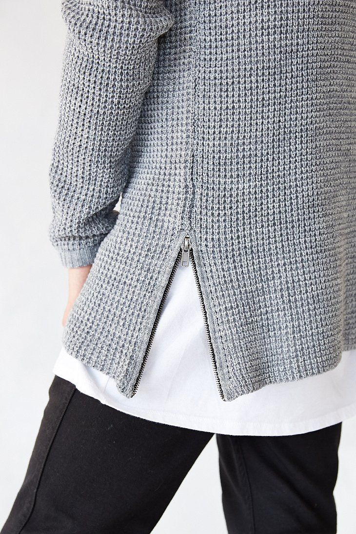 The Narrows Side-Zip Waffle Sweater - Urban Outfitters
