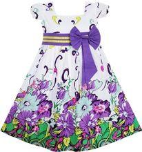 Sunny Fashion Vestido de las muchachas de la pajarita púrpura Party Boutique floral de la manga del bebé para niños ropa de los niños 2-10 verano de la muchacha de la princesa Vestidos(China (Mainland))