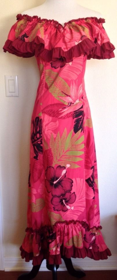 New Red Floral Hawaiian Muumuu Off the Shoulder Hula Fishtail Pumehana Dress S