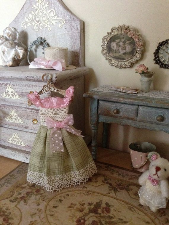 1/12 dress and hanger - miniature dolls house - hand made - shabby chic style