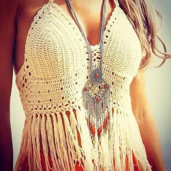 Lace Crochet Summer Fringe Halter Top Adorable fringe halter top. Perfect for summer and showing some skin ✨ One size fits most because of you can tie the back as you would like. Brand new.  ♥️ Make me an offer if you don't like the price ➡️ Offer Button only!  ❌ No trades, lowballing, or holds  ✔️ YES bundles! Tops