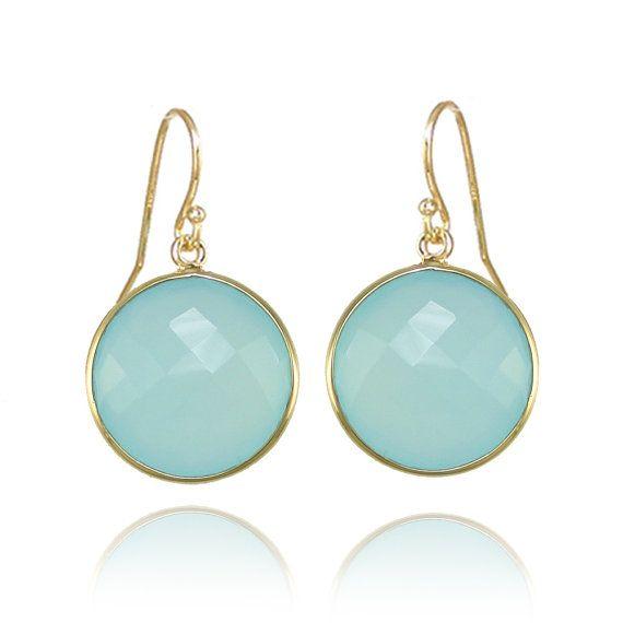 Seafoam Chalcedony earrings - Gemstone earrings - gold round earrings - Large Gemstone Earrings - Statement Earrings - Dangle Earrings
