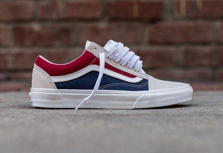 Guide Des Achats Vans Old Skool Retro Block Weiss Rot Kleid Blau Sneake Mens Vans Shoes Vans Shoes Fashion Custom Vans Shoes