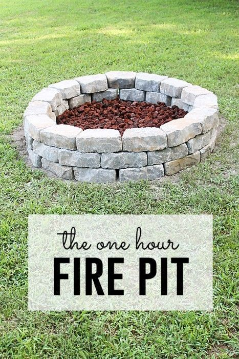 The One Hour Fire Pit - 39 DIY Backyard Fire Pit Ideas You Can Build - http://www.bigdiyideas.com