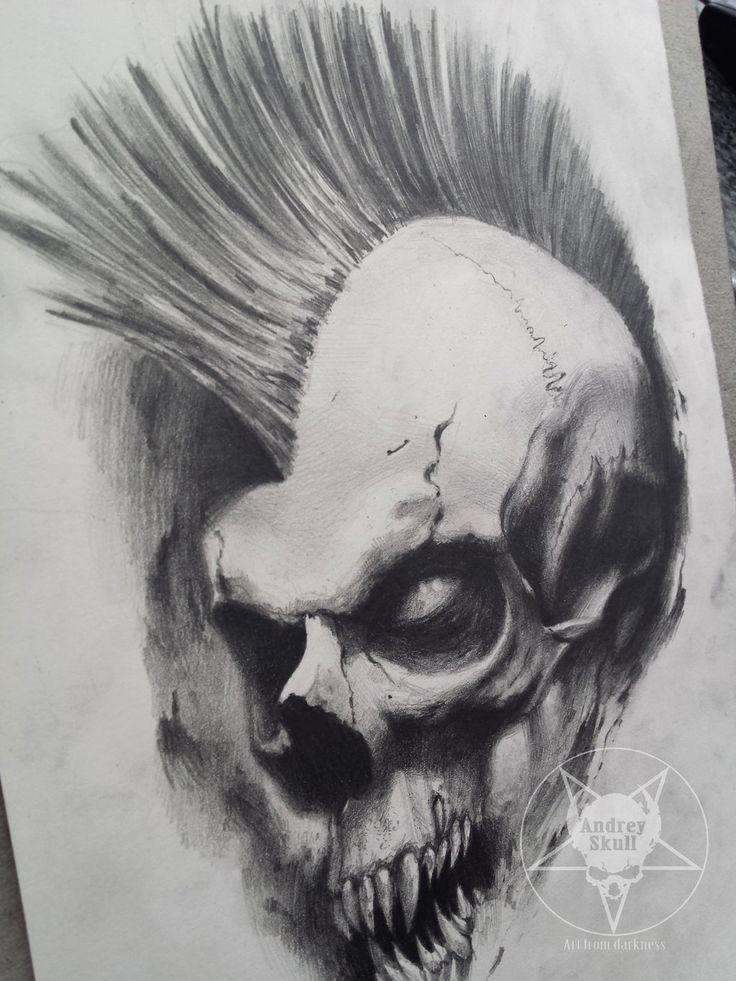 mohawk skull by AndreySkull.deviantart.com on @DeviantArt
