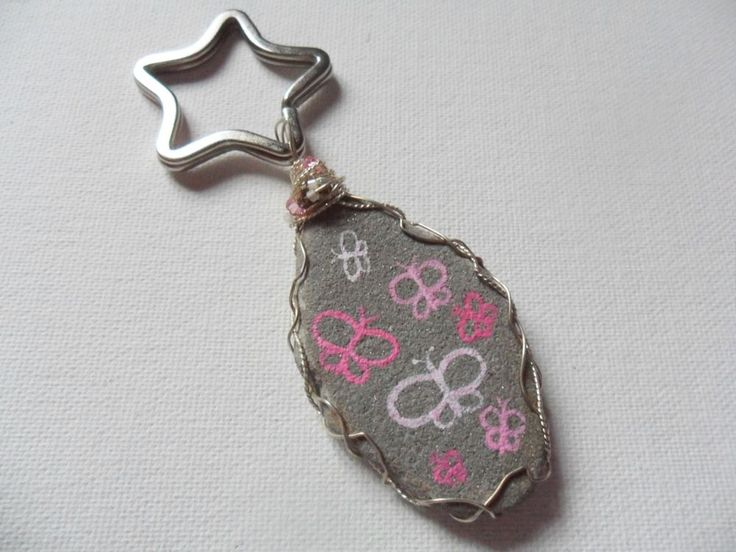 Black cat hand painted sea glass and charm keyring - tiny crystal wire wrapping #handmade