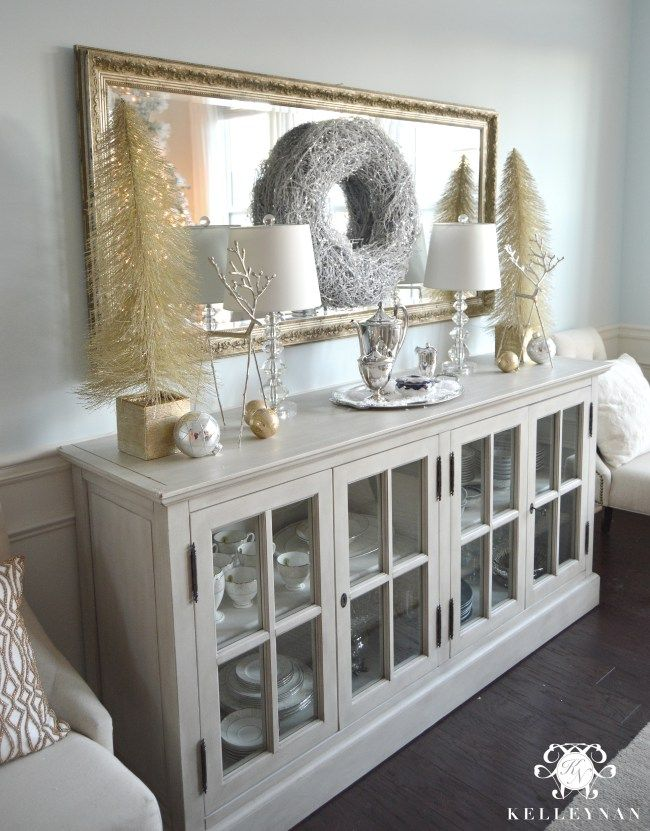 Christmas dining room in neutrals and metallic gold and silver. Christmas and Holiday Home Tour