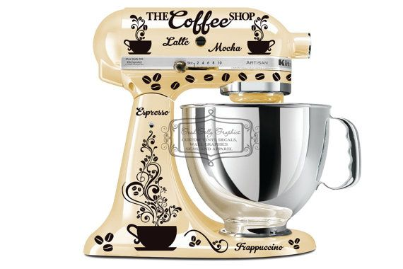 Kitchen mixer decal set COFFEE theme by GoodGollyGraphics on Etsy