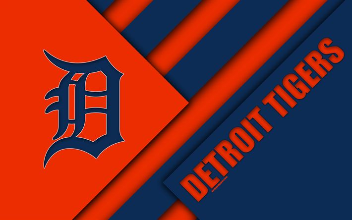Download wallpapers Detroit Tigers, MLB, 4K, orange blue abstraction, logo, material design, baseball, Detroit, Michigan, USA, Major League Baseball