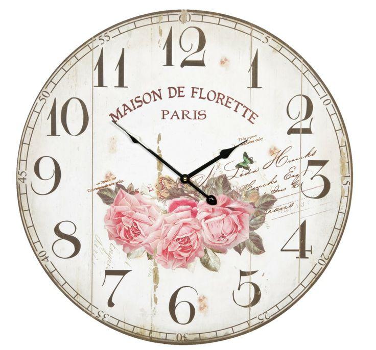 Wandklok Maison de florette: fleurige klok met romantische print