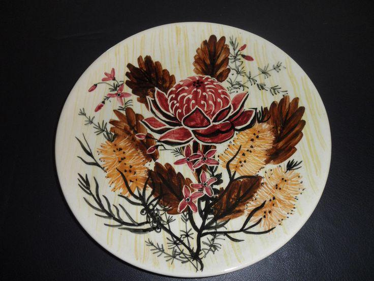 MARTIN BOYD ORIGINAL RARE HAND PAINTED LARGE PLATE – AUSTRALIAN WILD FLOWERS
