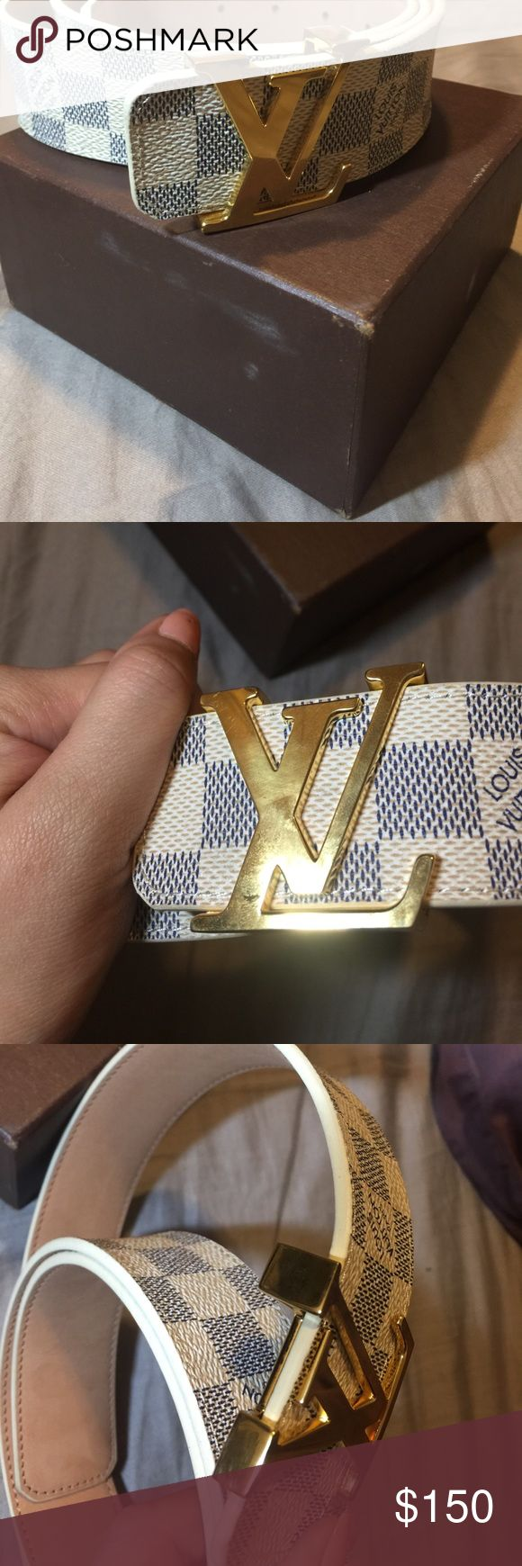 Louis vuitton damier belt. Louis vuitton damier print styled belt. With LV gold buckle. Comes as is with only box. There is no damage to the belt or buckle but slight scratches on box. Sizing is pictured. NOT SURE IF IT IS AUTHENTIC OR HIGH QUALITY REPLICA- so your steal if it is real. Sold as is. Louis Vuitton Accessories Belts