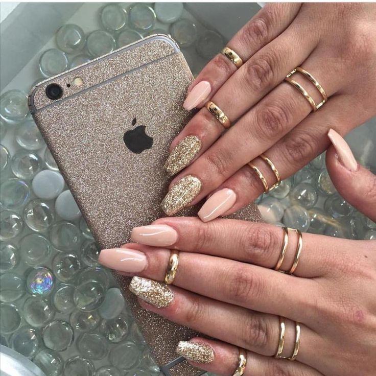 Peach + Gold Coffin Nails #nail #nailart