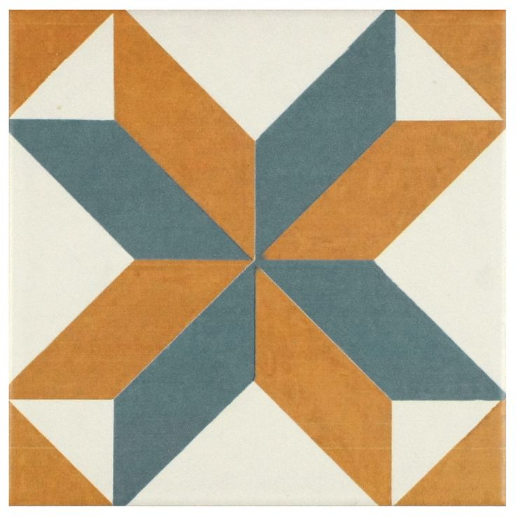 Warm tones of burnt orange and a shadowy blue-gray form a geometric pattern with sharp angles set against a white base glaze. This collection is a durable choice for your indoor floor or wall installation.