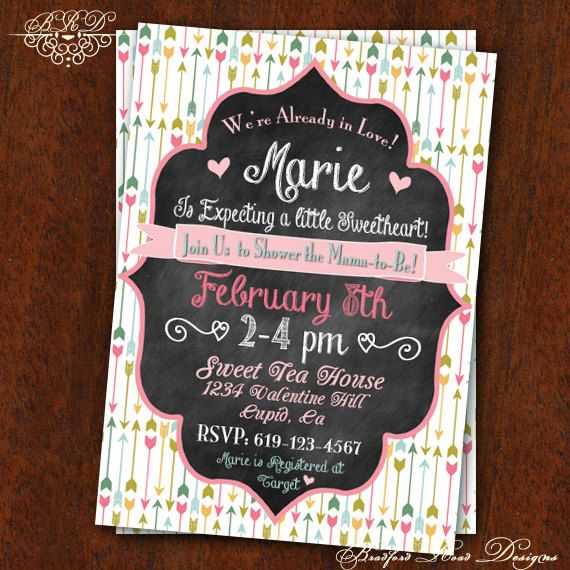 Valentine's Baby Shower Couples Shower Valentine's Bridal Shower Valentine's Party Invitation Little Sweetheart Customizable 5x7 Printable on Etsy, $15.00