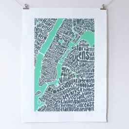 Intricate type map of New York, showing neighbourhoods of Manhattan, Bronx, Queens and Brooklyn.