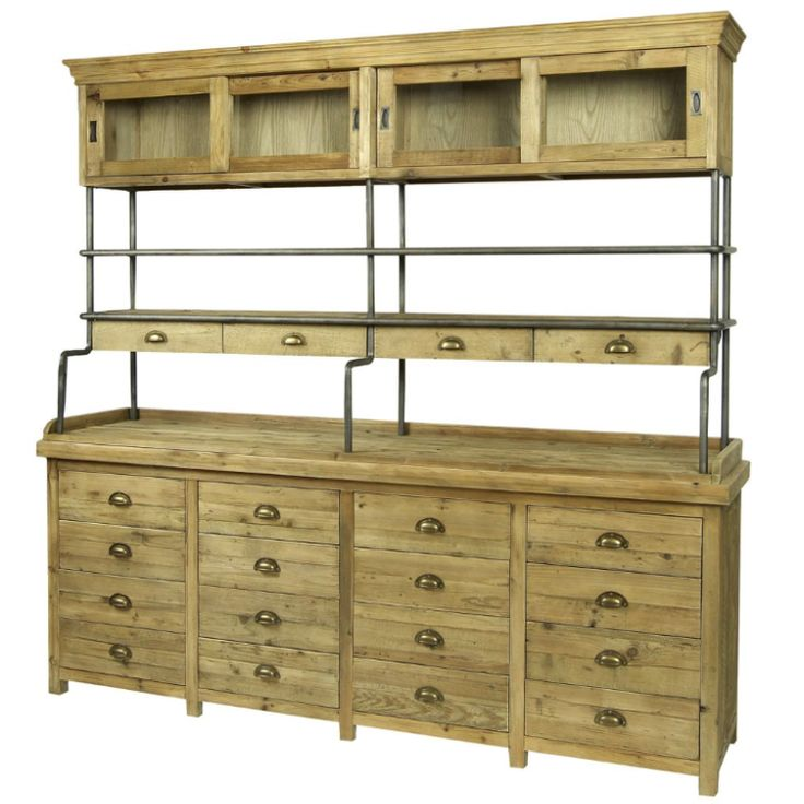 Large Industrial Styled Pine Sideboard – Allissias Attic
