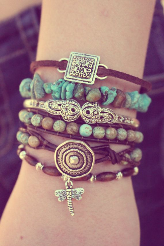 Turquoise Boho Leather Bracelet Stack - Featured In Vogue Magazine - Green…