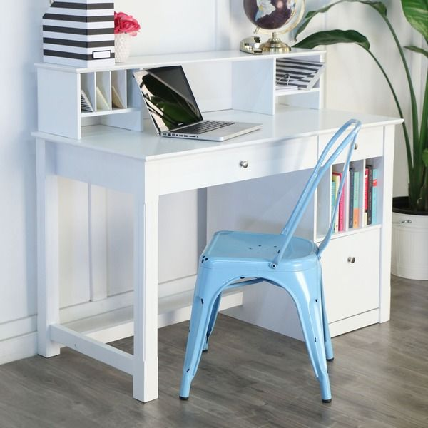 Deluxe White Wood Computer Desk with Hutch                                                                                                                                                      More