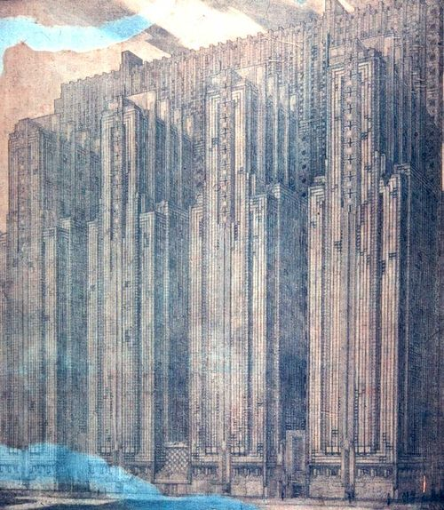 Study Frank Lloyd Wright Sketches of Structures Never Built.  Wright's 1923 plan for the National Life Insurance Building in Chicago, a 25-story fortress of intricate copper panels slated for the North end of the Magnificent Mile.