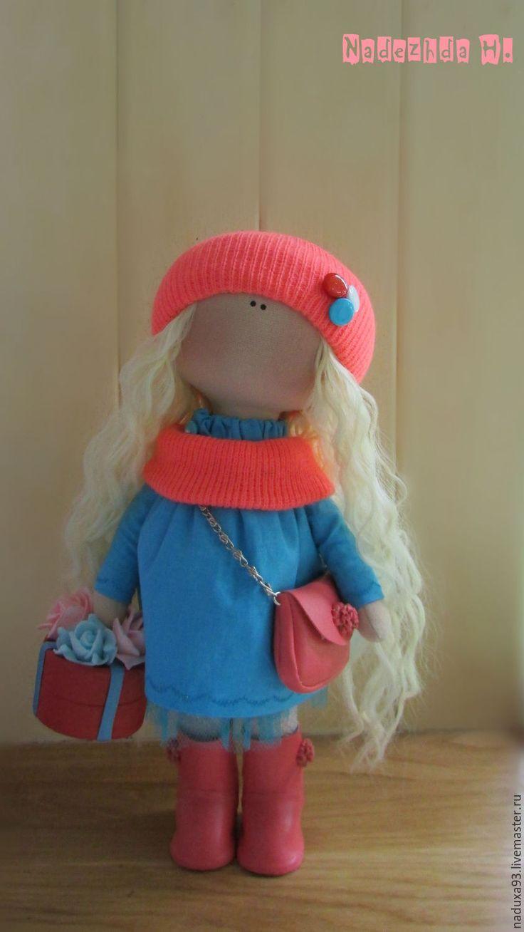 Купить Текстильная интерьерная кукла - коралловый, бирюзовый, кукла ручной работы, подарок, ручная работа