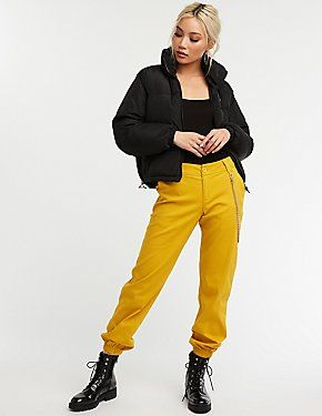 e6deb303fa51 This is such a fun winter look with this puffer and this bright pants! Chain