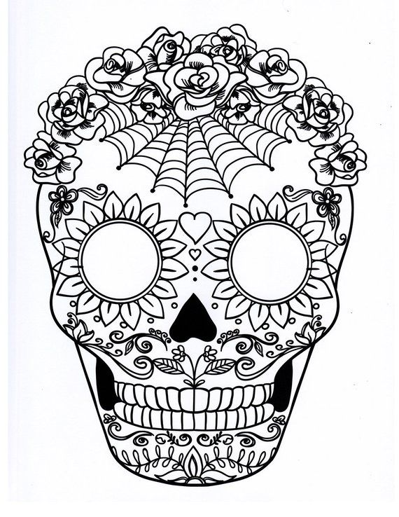 6e1384603 Five different sugar skull coloring pages, printable digital download no  481.