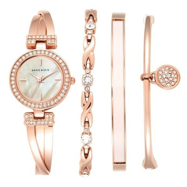 Anne Klein Boxed Bracelet & Bangle Watch Set, 24mm found on Polyvore featuring jewelry, bracelets, accessories, watches, rose gold, rose gold jewelry, clasp bracelet, swarovski crystal bangle bracelet, rose gold bracelet and bracelet bangle