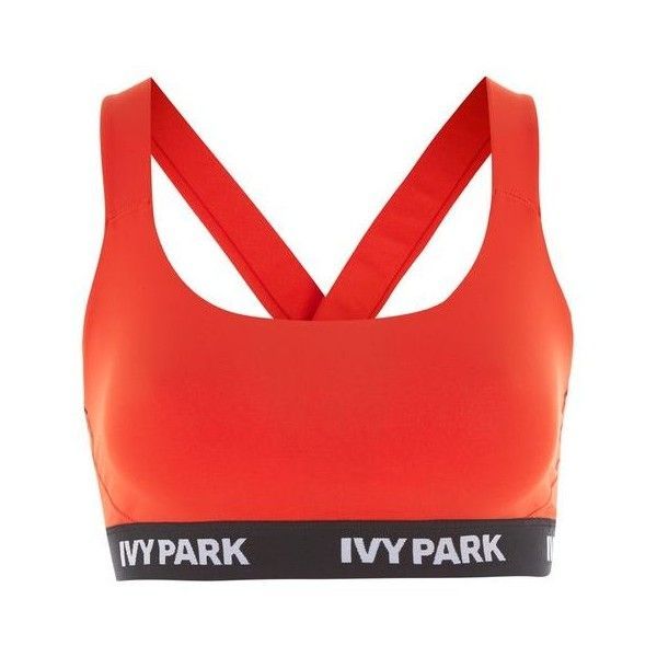 Logo v Back Mesh Bra by Ivy Park ($27) ❤ liked on Polyvore featuring activewear, sports bras, red sports bra and logo sportswear