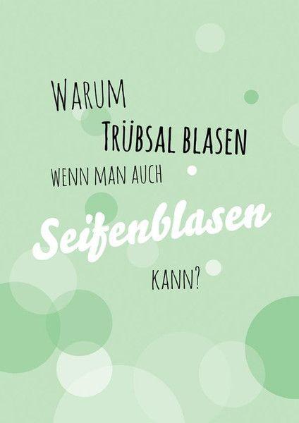 """Postkarte A6 Spruch """"Seifenblasen"""" von Beiderhase Grafik und Design auf DaWanda.com"""