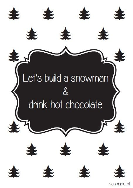 Let's build a #snowman and drink hot #chocolate - Buy it at www.vanmariel.nl - Card € 1,25