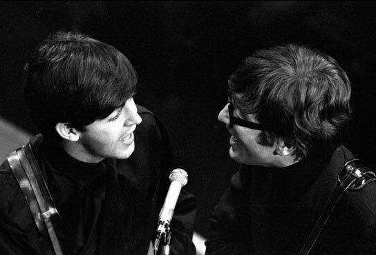 1963-Paul McCartney and John Lennon December 17, 1963 Saturday Club, BBC. The show was taped at the Playhouse Theatre, London between