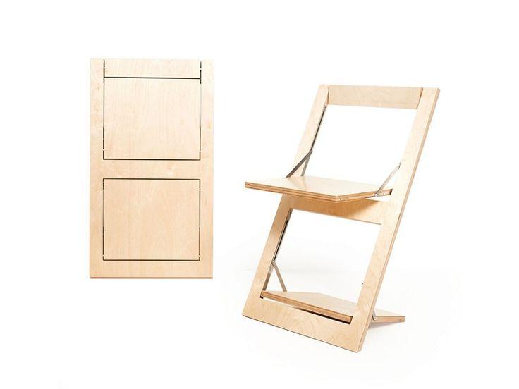 Cadeira dobrável de madeira compensada com encosto aberto FLÄPPS | Cadeira dobrável - AMBIVALENZ