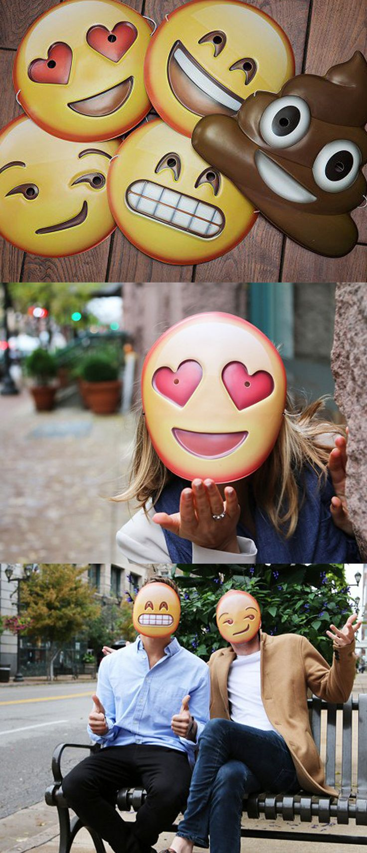 Bring your favorite emoji to life with Emoji Masks. These fun, engaging masks let you wear some of the most popular emoji on your face.
